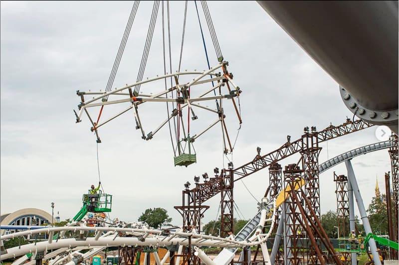 TRON Coaster canopy construction Magic Kingdom