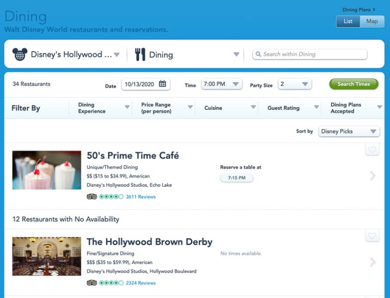 booking reservations at 50s Prime Time