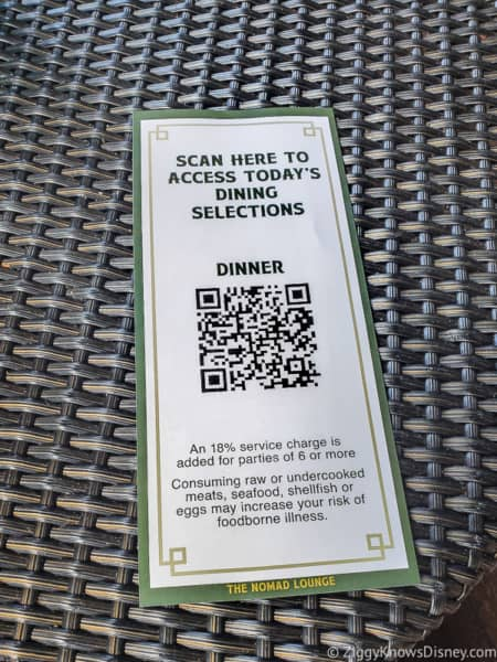 QR code menu Animal Kingdom