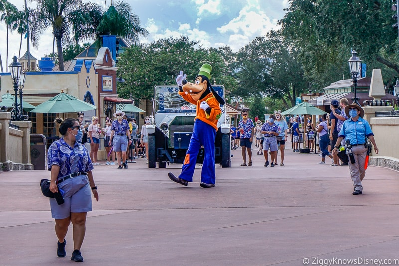 Goofy in front of Mickey and Friends World Tour Character Cavalcade