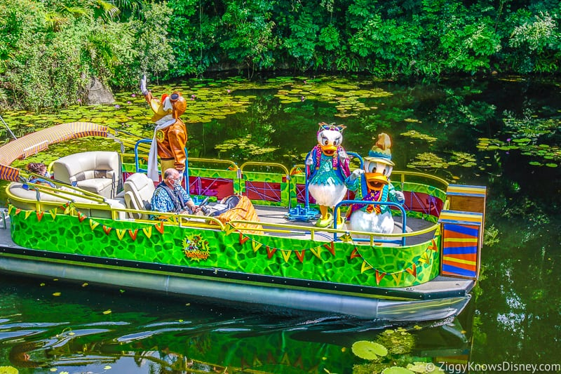 Donald Duck with Daisy and Launchpad McQuack Animal Kingdom Donald's Dino Boat Bash