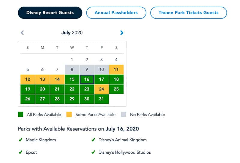 Disney Park Pass Resort Guests July