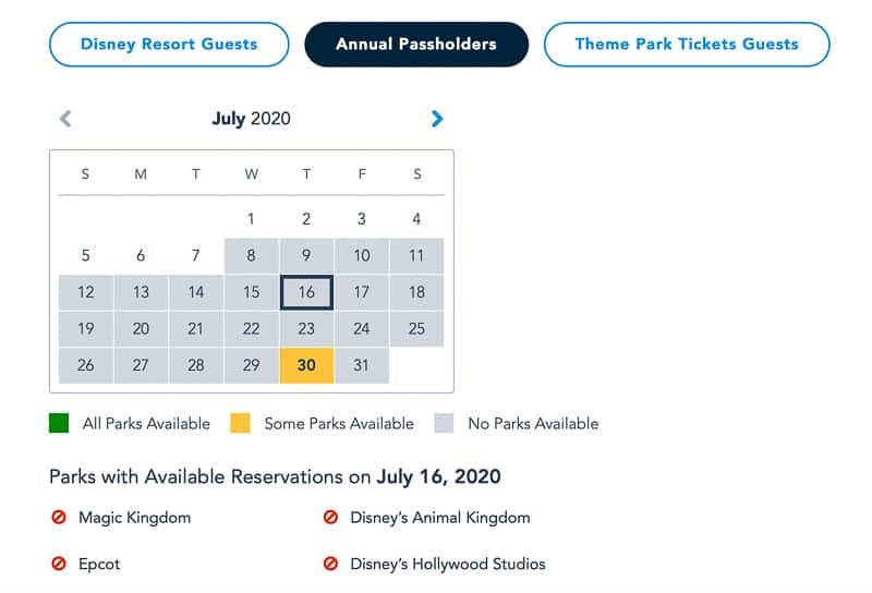 Disney Park Pass Annual Passholders July