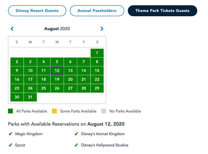 Disney Park Pass Ticket Guests July