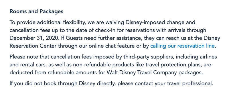 Disney World Cancellation Policy Extended