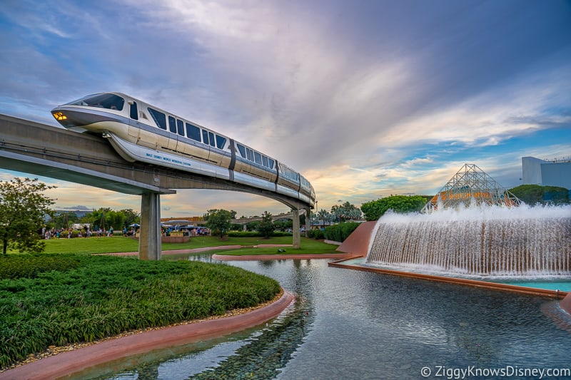 Disney World Monorail going past Imagination! pavilion in EPCOT