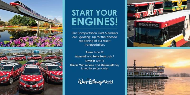 list of Disney World Transportation reopening
