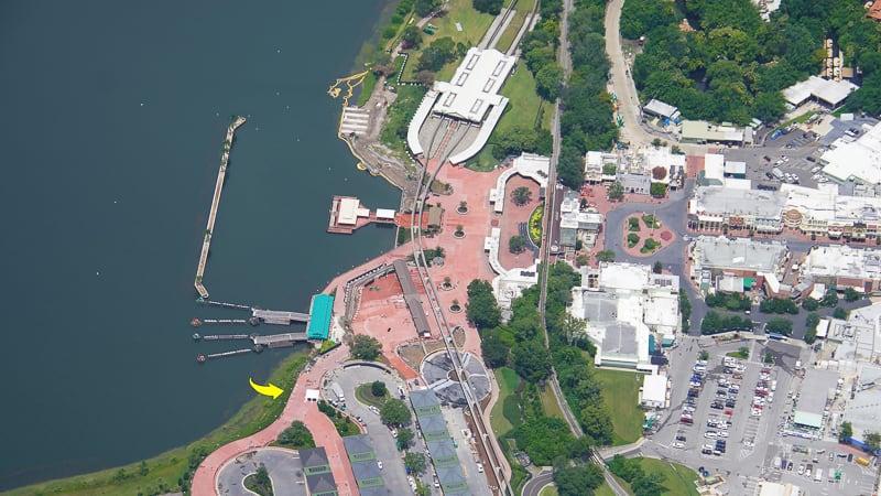 Aerial photo Magic Kingdom entrance July 2020