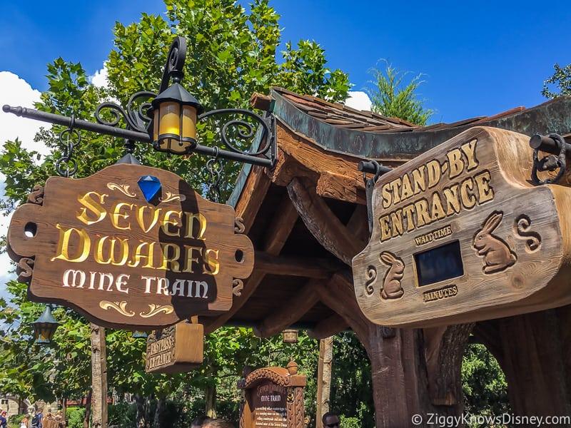 Sven Dwarfs Mine Train rides entrance Magic Kingdom
