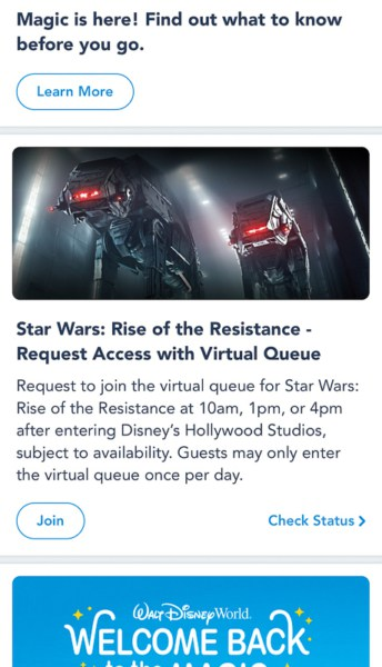 new Rise of the Resistance Virtual Queue My Disney Experience