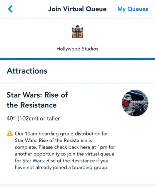Star Wars: Rise of the Resistance Join Virtual Queue