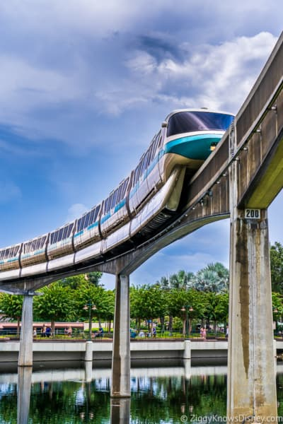 Teal monorail in EPCOT