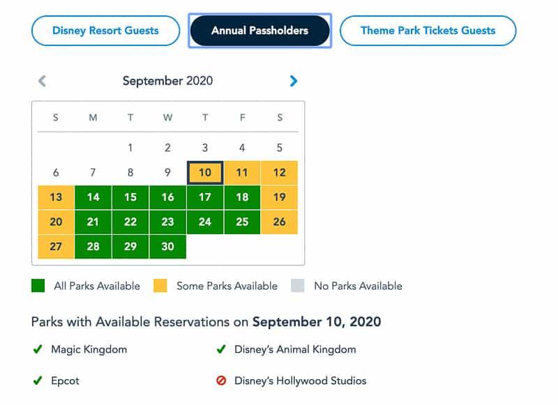 Disney Park Pass Reservations Annual Passholders  September