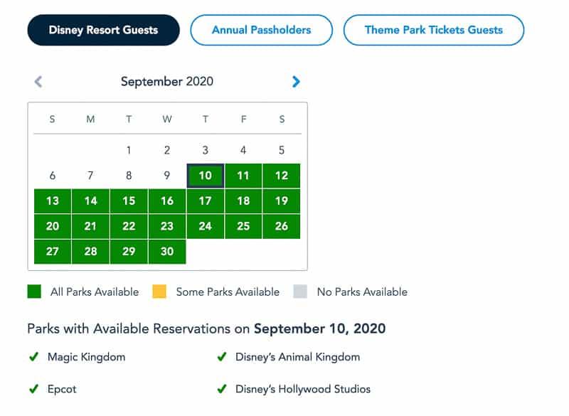 Disney Park Pass Reservations Disney Resort Guests September