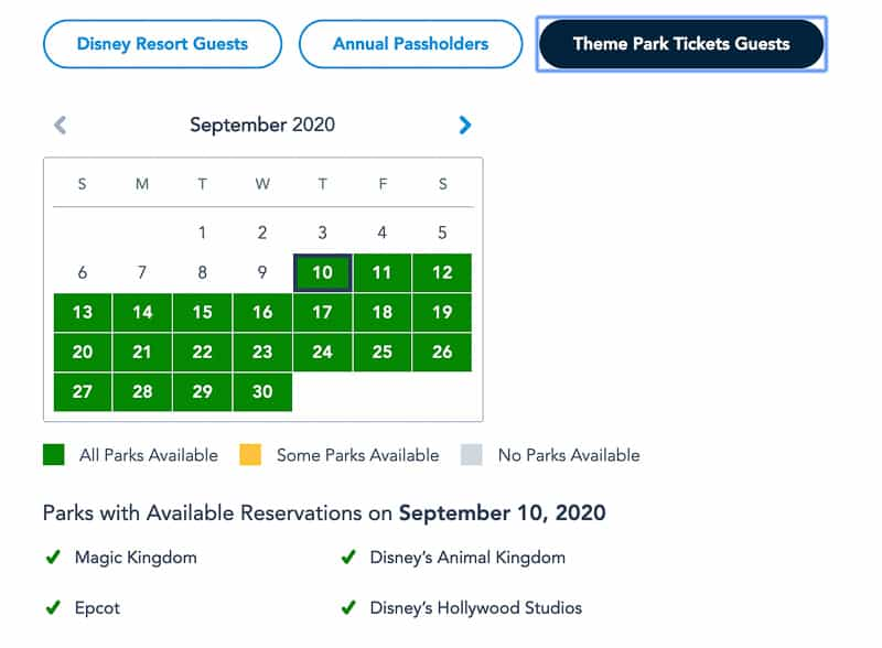 Disney Park Pass Reservations Theme Park Tickets September