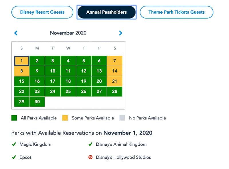 Disney Park Pass Reservations Annual Passholders November