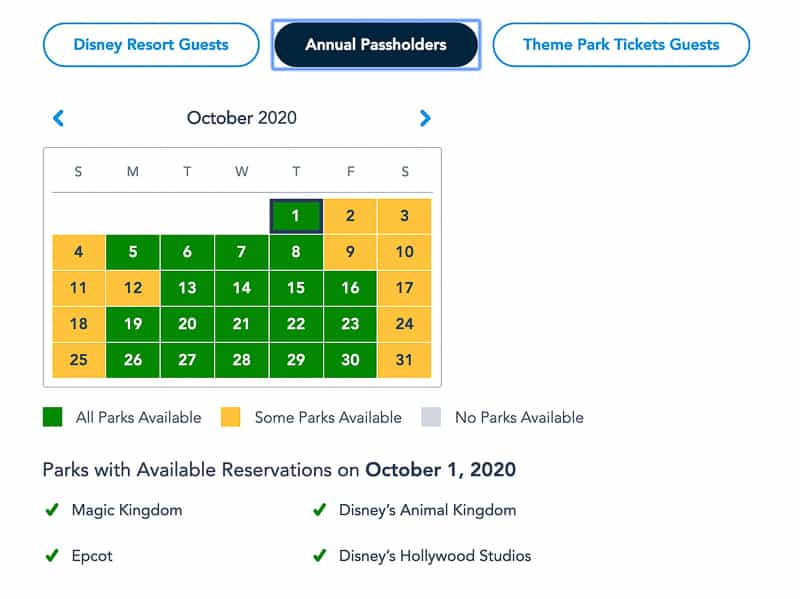 Disney Park Pass Reservations Annual Passholders October
