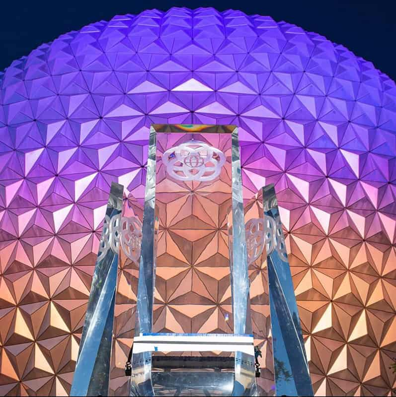 New Glass Prisms for EPCOT Entrance Fountain at night and Spaceship Earth