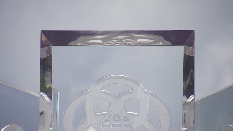 top of Glass Prisms at Epcot Entrance August 2020