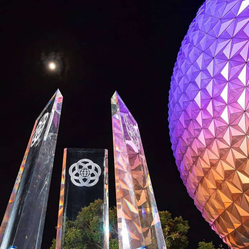 New Glass Prisms for EPCOT Entrance Fountain at night