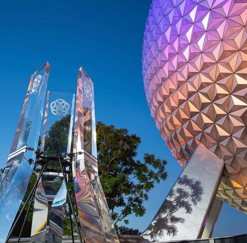 New Glass Prisms for EPCOT Entrance Fountain at night August 2020