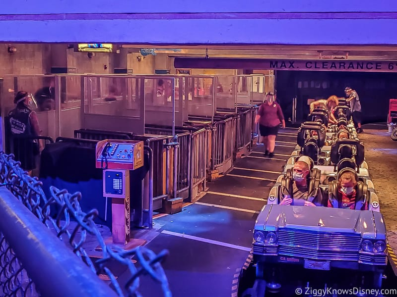 Rock 'n' Roller Coaster loading area with plexiglass barriers