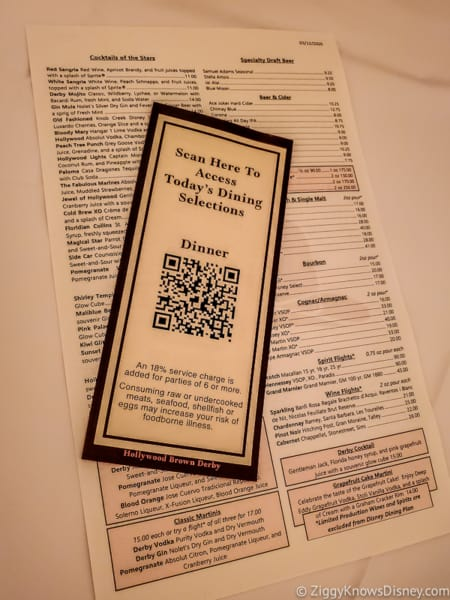 Hollywood Brown Derby QR menu