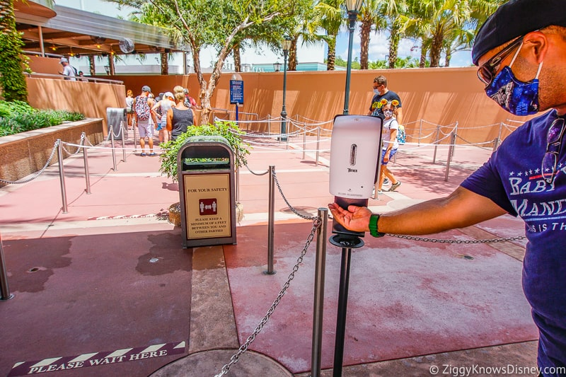 using hand sanitizer in Disney's Hollywood Studios
