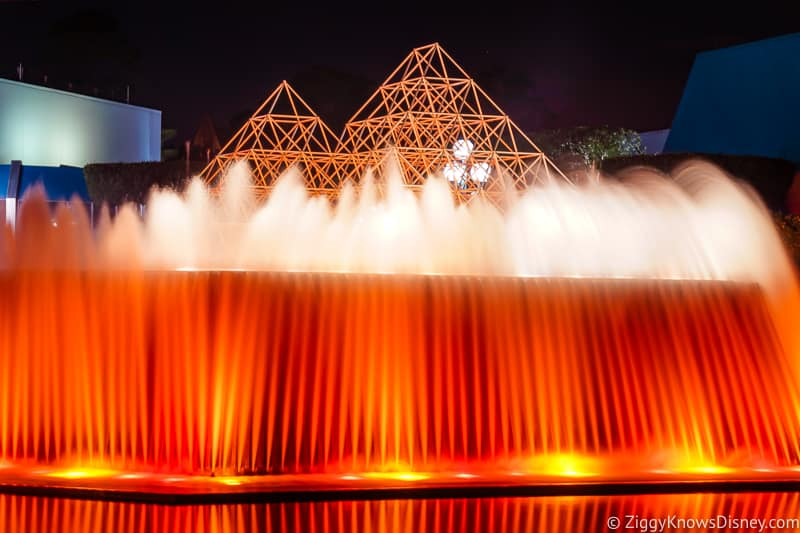 Fountains outside Imagination! Pavilion at night in EPCOT
