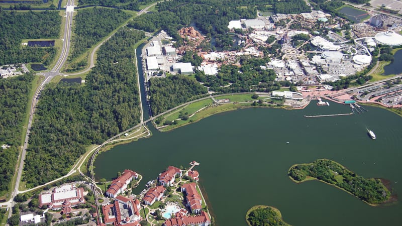 Aerial photo of Grand Floridian and Magic Kingdom
