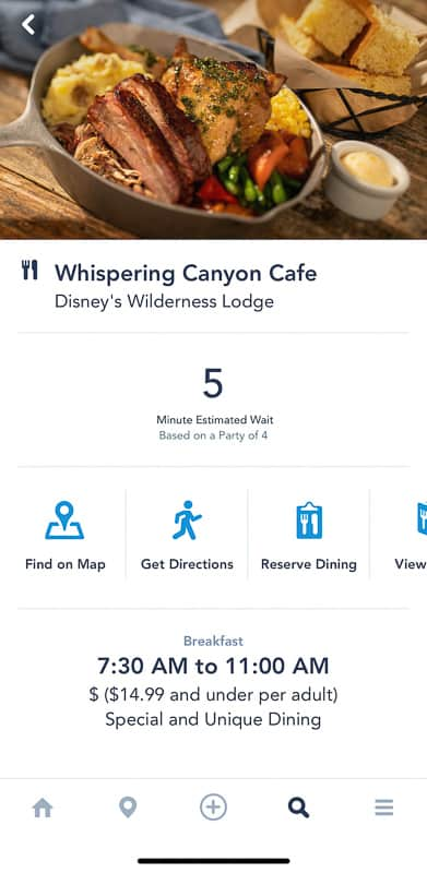 Disney Mobile Dine Waitlist Whispering Canyon Cafe