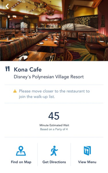 Disney Mobile Dine Waitlist 45 minute wait