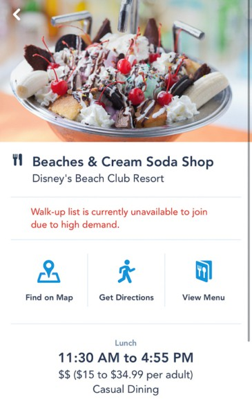 Disney Mobile Dine Waitlist Beaches and Cream