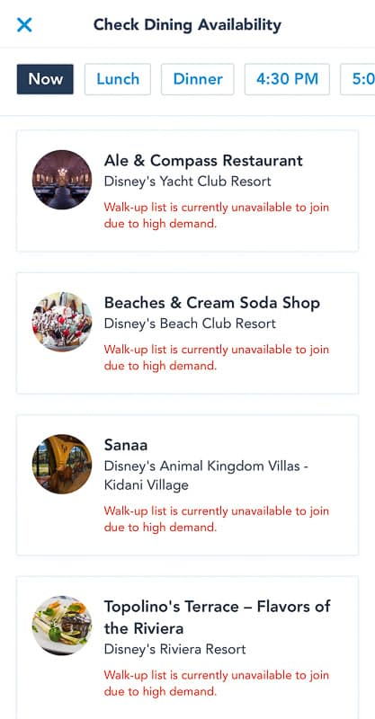 Disney Mobile Dine Waitlist List of restaurants