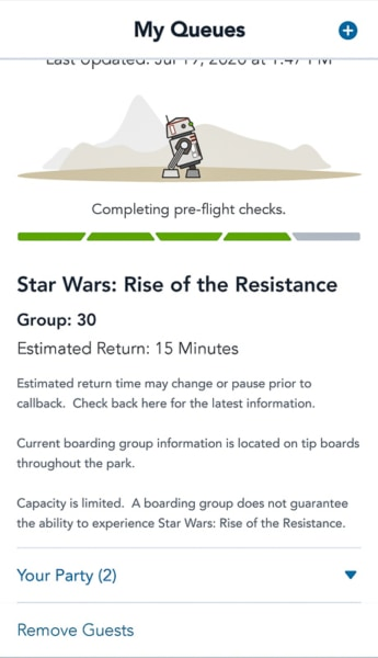 Rise of the Resistance Virtual Queue estimated time