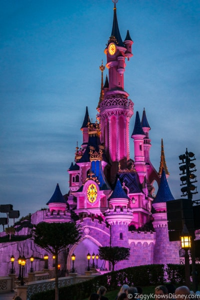 Sleeping Beauty Castle at night Disneyland Paris