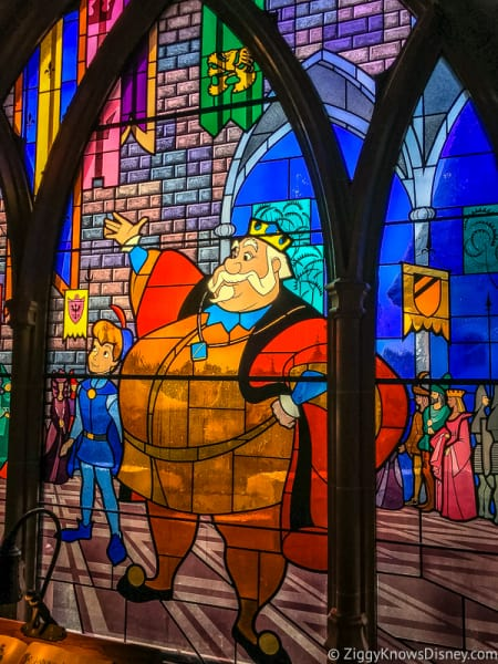 stained glass windows inside Sleeping Beauty Castle Disneyland Paris