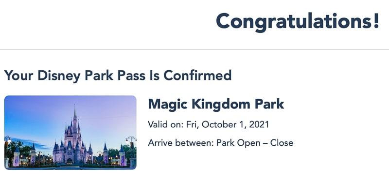 Magic Kingdom park pass Oct 1 2021