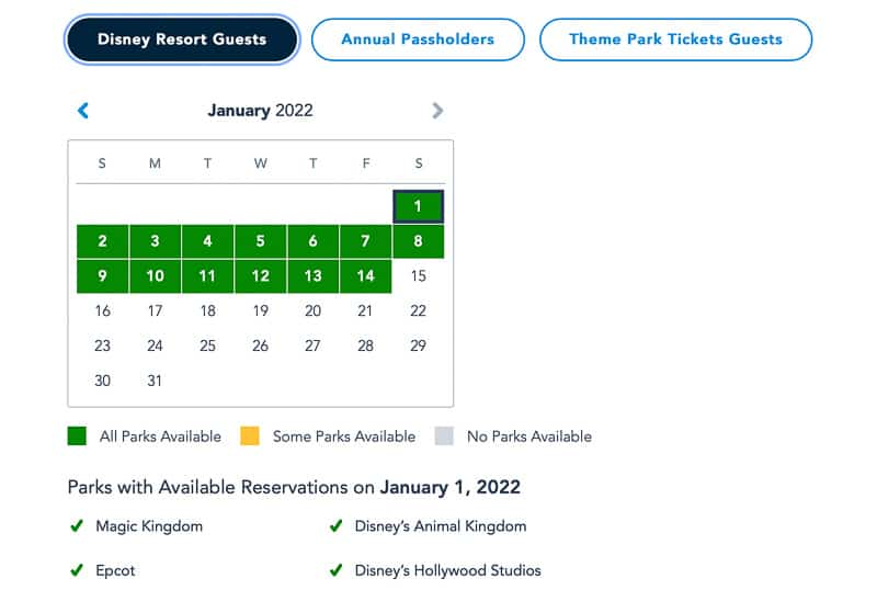 Disney Park pass reservations extended into 2022