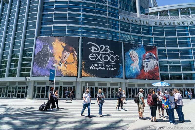 outside the D23 Expo at the Anaheim Convention Center