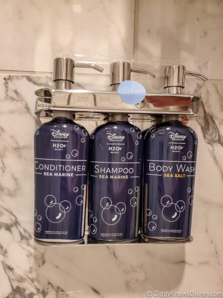 Disney shampoo and body wash soap in the shower