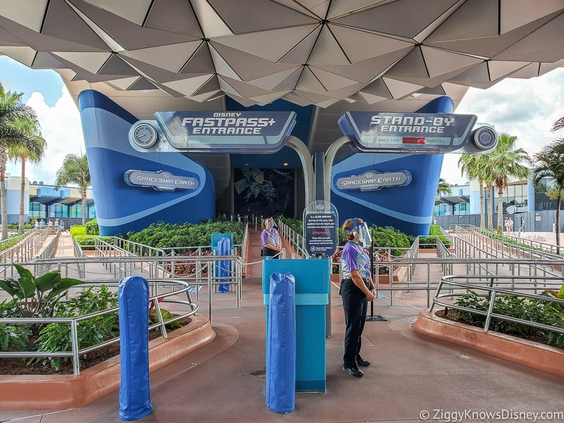 Outside Spaceship Earth after EPCOT Reopening