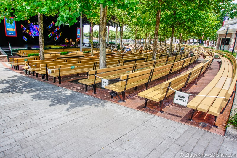 Seats at America Gardens Theater EPCOT after Reopening