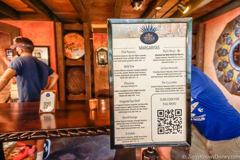 Cava del Tequila digital menu scan EPCOT