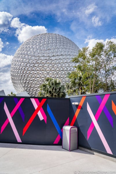 Spaceship Earth behind construction walls at EPCOT