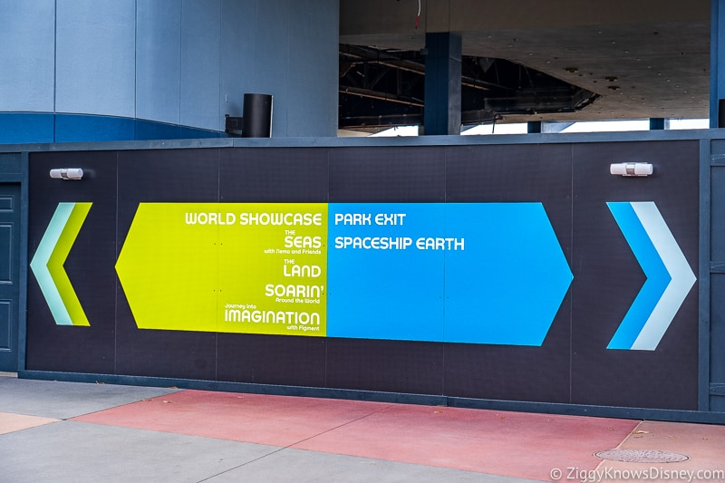 EPCOT construction wall with directions