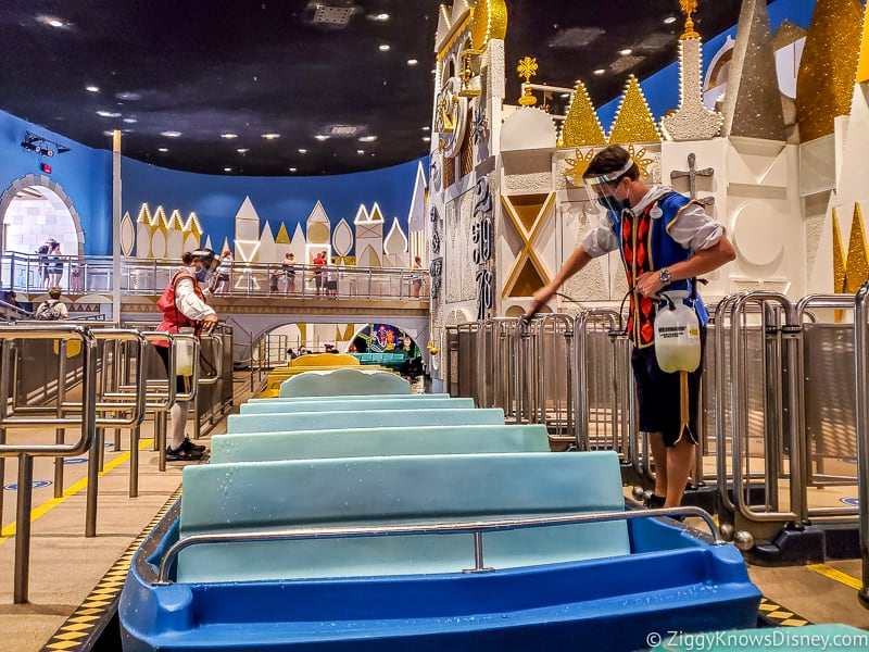 It's a Small World cleaning boats Magic Kingdom reopening