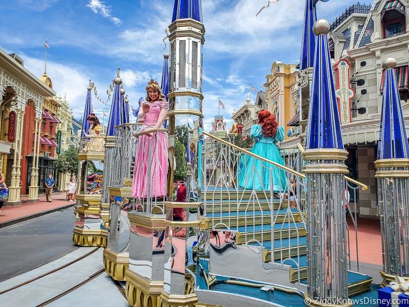 Magic Kingdom princess character cavalcade on Main Street