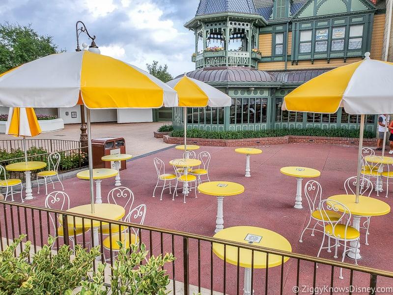 The Plaza Restaurant outside seating area Magic Kingdom