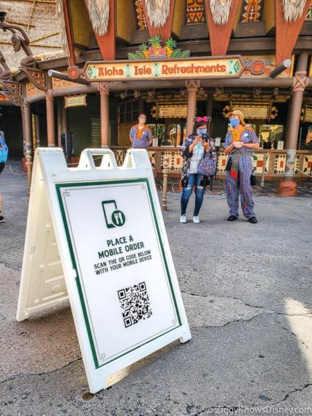 Mobile Order sign Aloha Isle Magic Kingdom opening